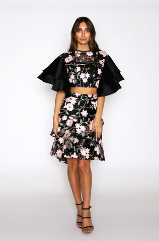 Addison Ruffle Skirt - Black