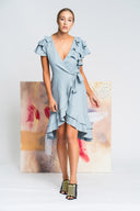 Allure Wrap Dress in Blue - Alpha-Be The Label