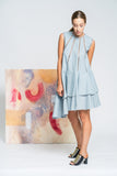 Skewed Perspective Linen Dress - Blue - Alpha-Be The Label