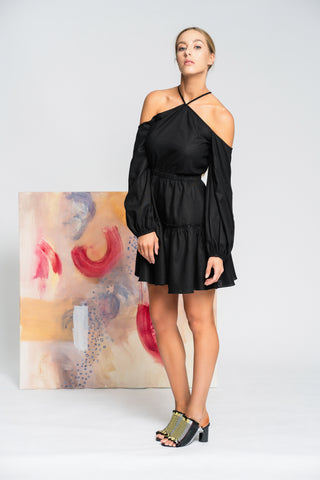 Hearts Wide Open Mini Dress - Black - Alpha-Be The Label