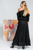 Hearts Wide Open Maxi Linen Dress - Black - Alpha-Be The Label