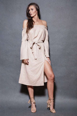 Bohemian Love Linen Dress - Beige - Alpha-Be The Label