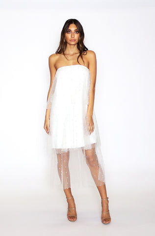 Layla Pearl Midi Dress - White