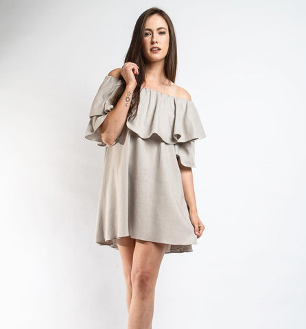 Sunset Linen Dress - Gray