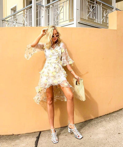 Floating Floral Midi Dress - Yellow