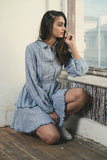Iris Linen Dress - Blue Stripes