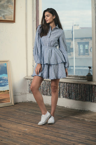 Iris Linen Dress - Stripes