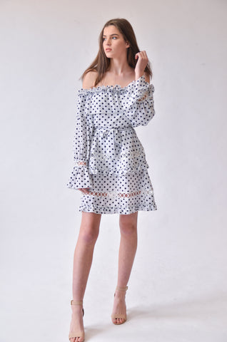 Frida Frill Mini Dress - White Polka Dot
