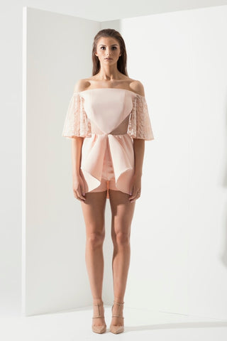 Pretty In Peach Playsuit - Alpha-Be The Label