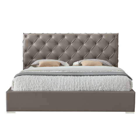 Helmii Gaillard bed with tufted headboard made in taupe colour PU material