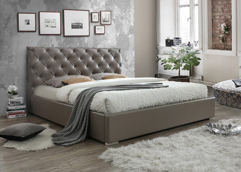 Inspirational room set of helmii upholstered PU Bed in Taupe leather with tufted headboard
