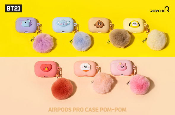 COKODIVE All Characters BT21 X ROYCHE BABY AIRPODS PRO CASE POM-POM