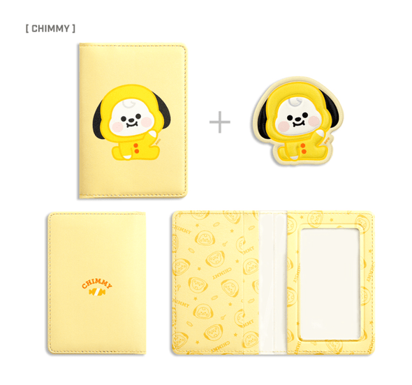 COKODIVE CHIMMY BT21 X MONOPOLY BABY LEATHER PATCH CARD CASE