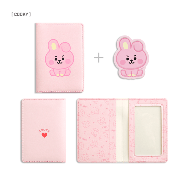 COKODIVE COOKY BT21 X MONOPOLY BABY LEATHER PATCH CARD CASE