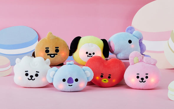 COKODIVE [PRE-ORDER] BT21 BABY LIGHT UP CHEEKS BAG CHARM DOLL
