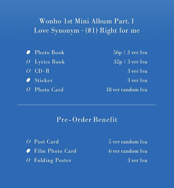 COKODIVE [PRE-ORDER] WONHO - 1ST MINI ALBUM [LOVE SYNONYM #1. RIGHT FOR ME]