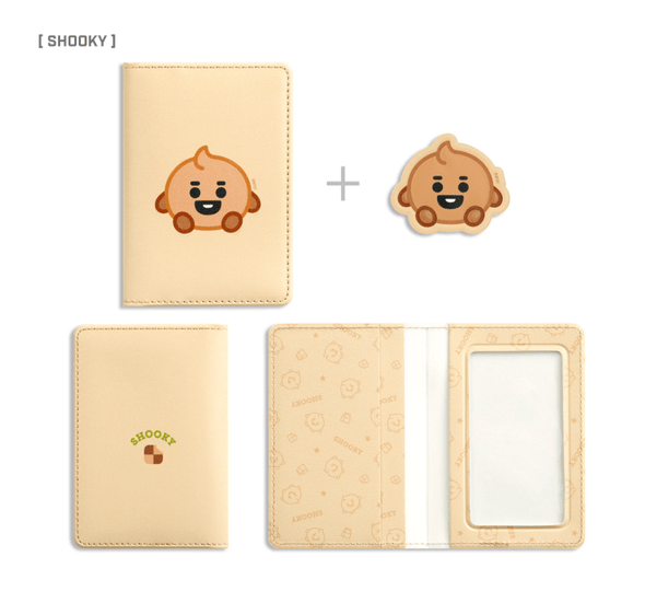 COKODIVE SHOOKY BT21 X MONOPOLY BABY LEATHER PATCH CARD CASE