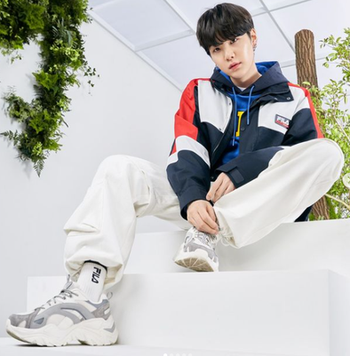 FILA BTS X FILA PROJECT 7 BACK TO NATURE CLOTHES : HERITAGE COLOR BLOCK JACKET (INK NAVY)