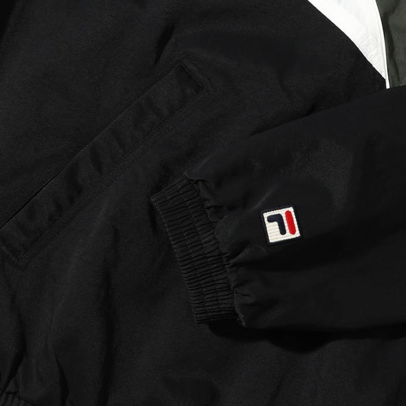 FILA BTS X FILA PROJECT 7 BACK TO NATURE CLOTHES : HERITAGE V COLOR BLOCK ANORAK (BLACK)