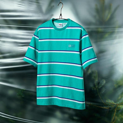 FILA BTS X FILA PROJECT 7 BACK TO NATURE CLOTHES : MULTI STRIPE T-SHIRT (MINERAL GREEN)