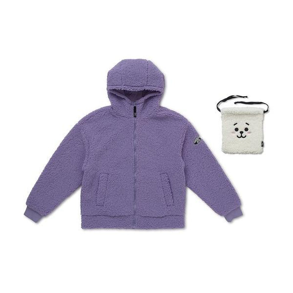 LINE FRIENDS PURPLE / S BT21 FLEECE HOODIE ZIP-UP JACKET