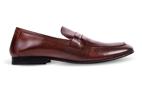 cobb london brown leather loafer shoe side view