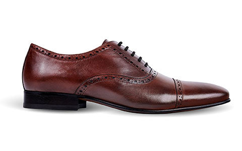 cobb london brown leather brogue shoe side view