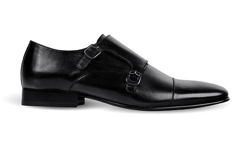 cobb london black leather monk shoe side view
