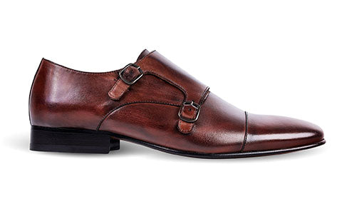cobb london brown leather monk shoe side view