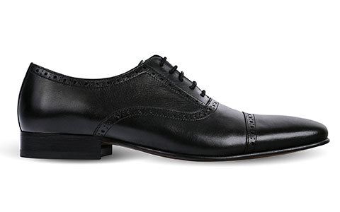cobb london black leather brogue shoe side view