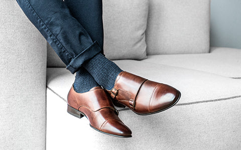 mens brown leather monk shoes    cobb