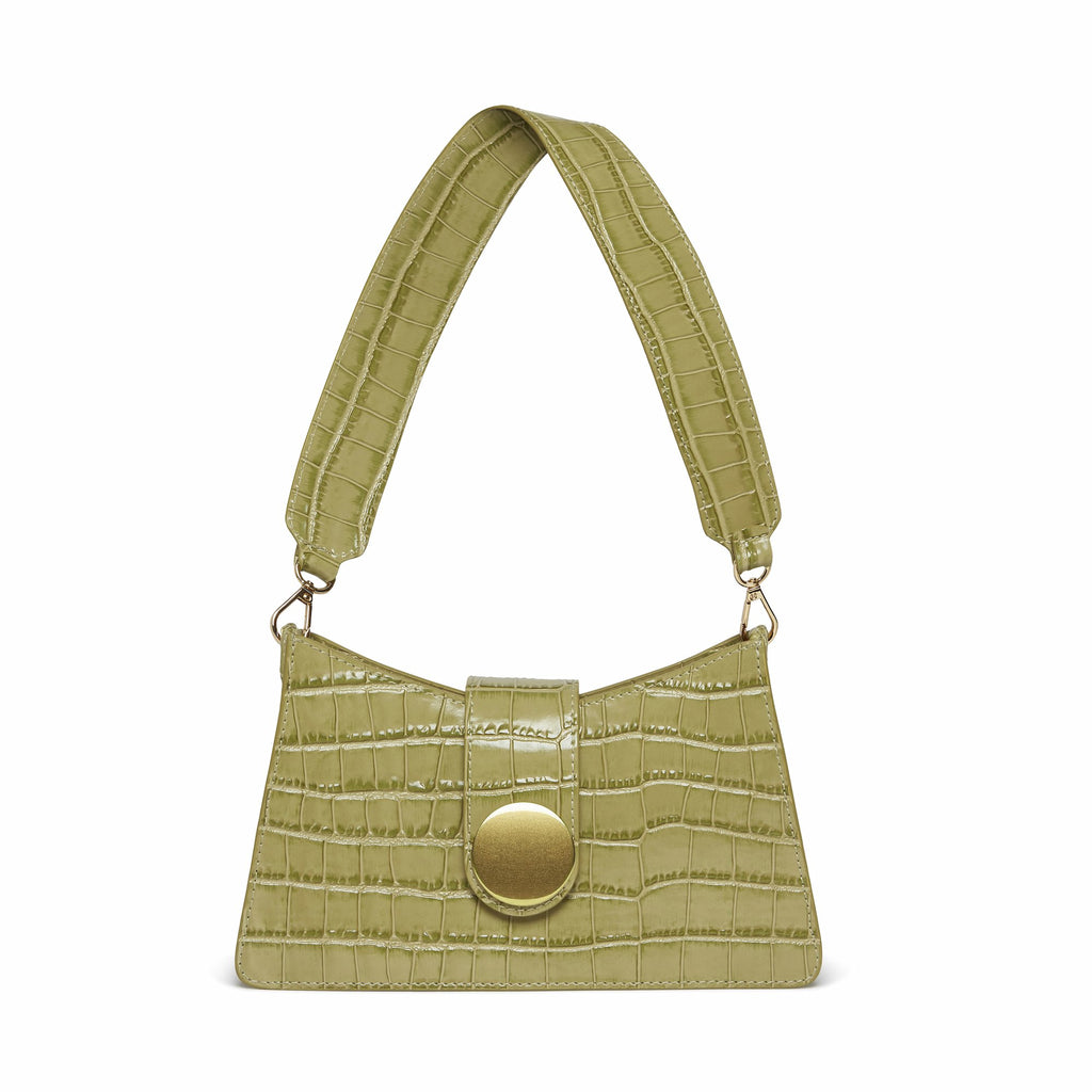 Baguette <span>Croco Embossed leather Olive</span>