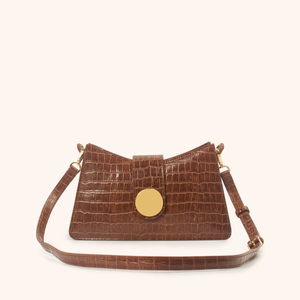 Baguette - Cognac Croco Embossed Leather/ Delivery by January 20th