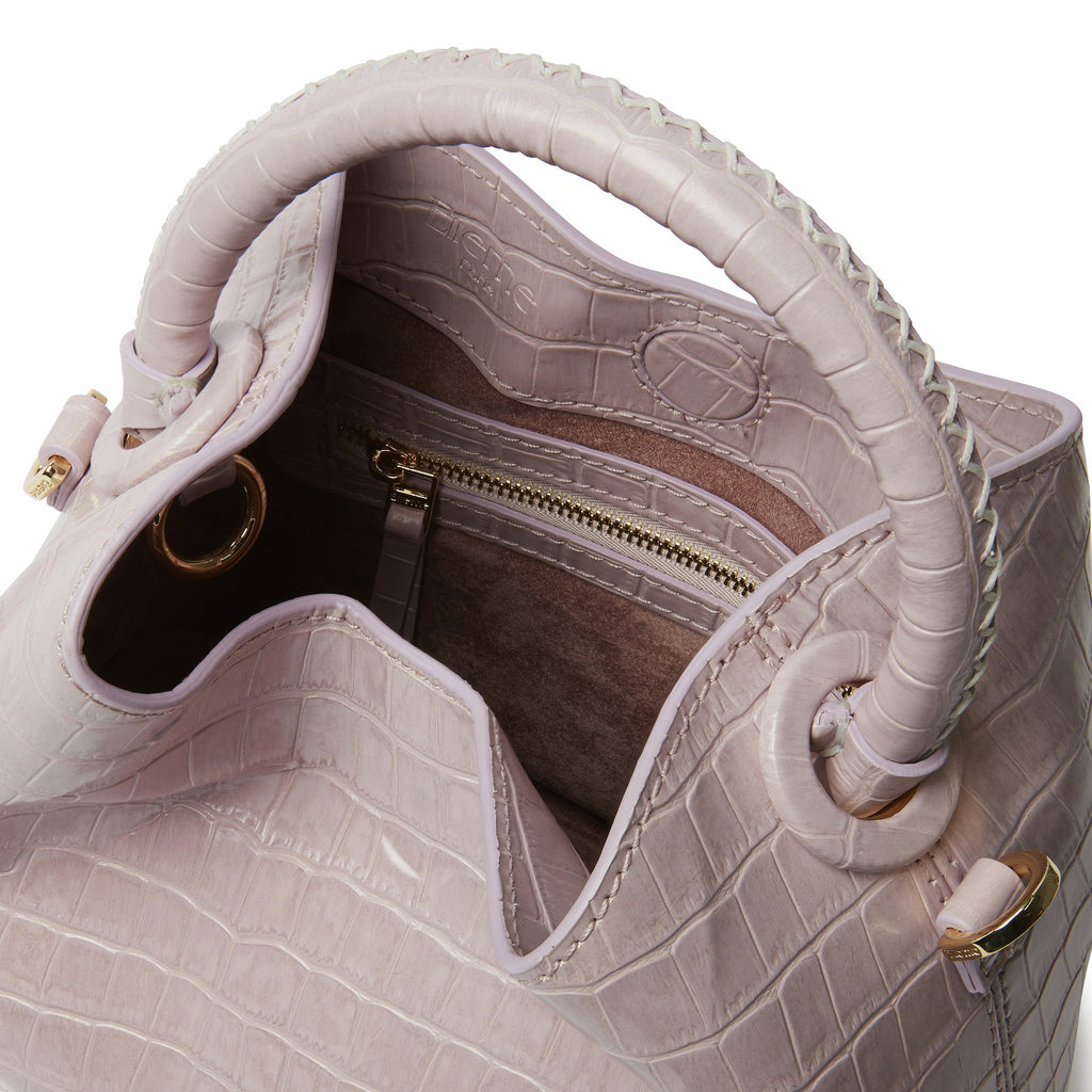 Baozi Croco Embossed Leather Pink