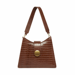 Cat Croco Embossed Leather Cognac