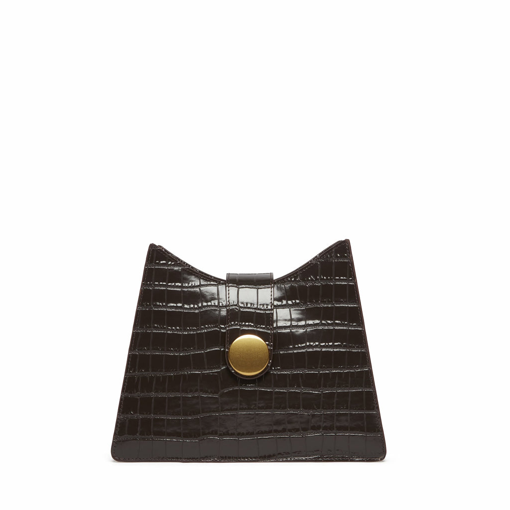 Cat <span>Croco Embossed Leather Dark Brown</span>
