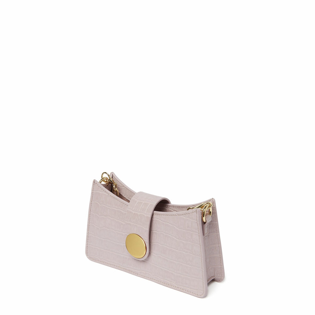 Mini Baguette <span>Croco Embossed Leather Pink</span>