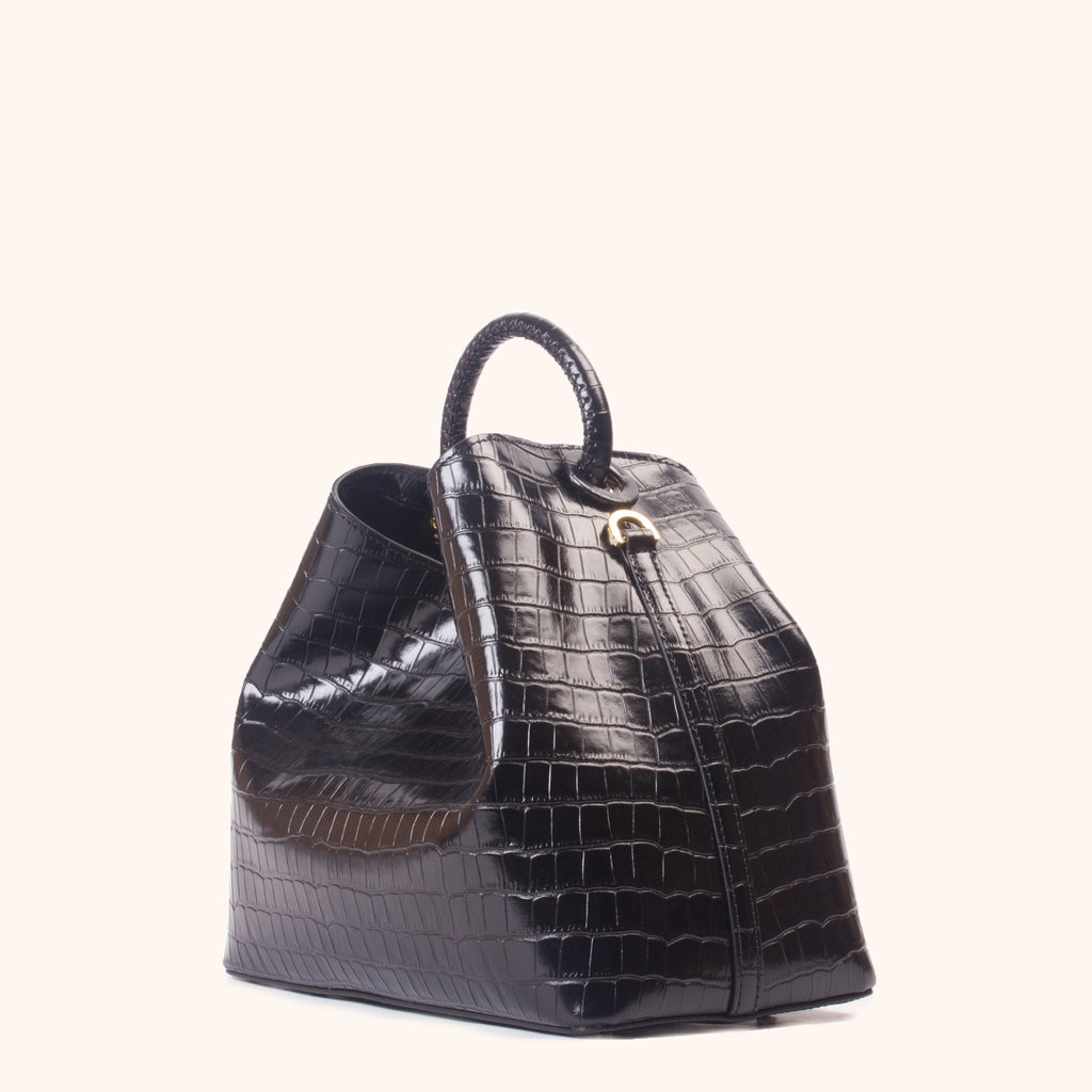 Raisin <span>Croco Embossed Leather Black</span>