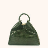 Raisin - Green Croco Embossed Leather