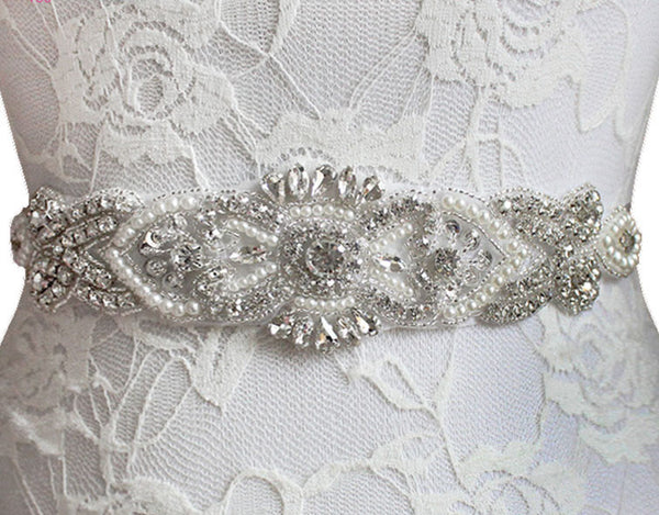 Crystal and Pearl Bridal Belt in White, Ivory or Champagne