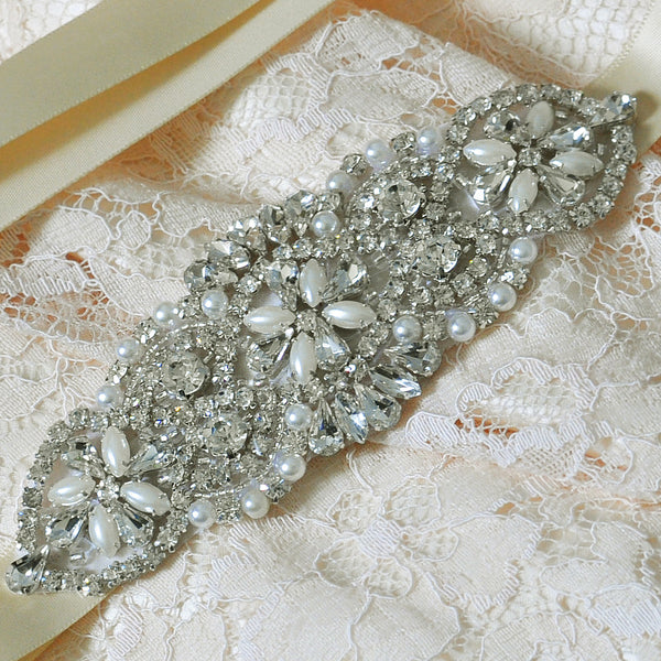 Crystal Bridal Belt in White, Ivory or Champagne