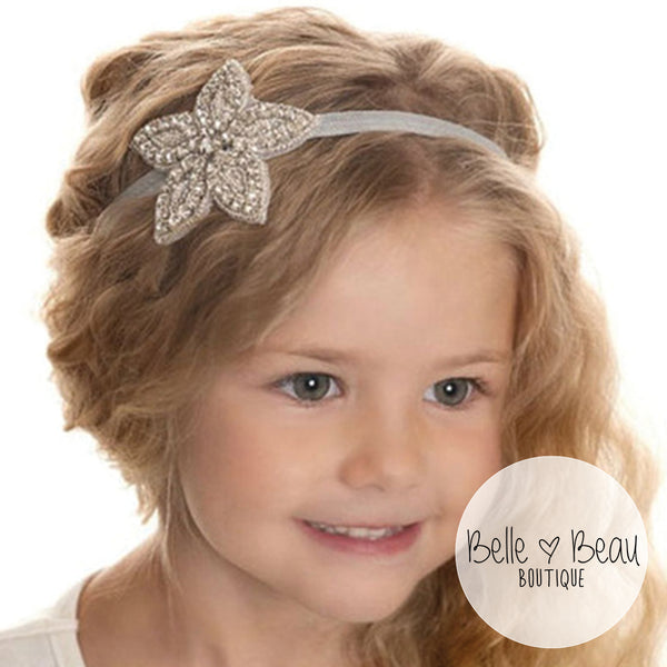 Girls Rhinestone Flower Star Headband, 12 Colours Available
