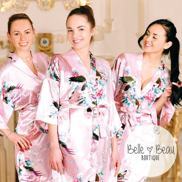 Peacock Print Bridesmaid Robe, 14 Colours Available, S-XXL