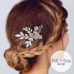 Vintage Gold Rhinestone Crystal Flower Bridal Hair Comb