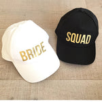 BRIDE & SQUAD Baseball Caps, White and Black