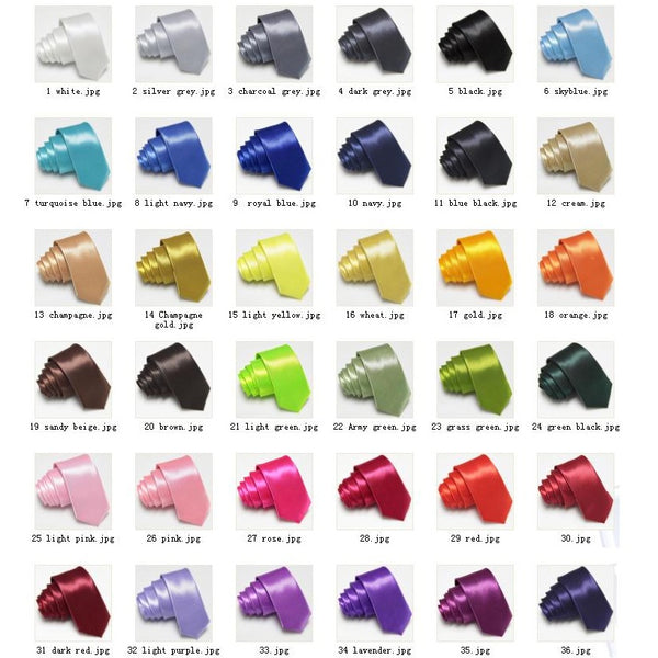 Mens Solid Colour Slim Tie, 20 Colours Available