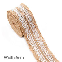 5m Burlap and Lace Ribbon, Various Styles Available