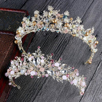 Gold or Pink Crystal Bridal Tiara