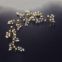 Vintage Gold Pearl and Crystal Bridal Hair Comb