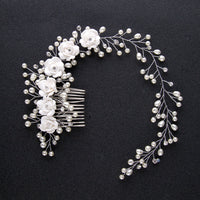 Vintage Flower and Pearl Bridal Hair Comb